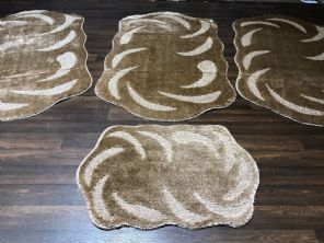 GYPSY TRAVELLERS MATS SETS 4PCS NON SLIP LARGE SIZE 75x125CM THICK DARK BEIGES